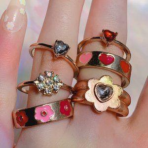 🤍 Pink/Red y2k Ring Set